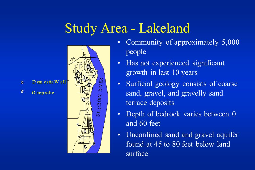 Study Area - Lakeland Community of approximately 5,000 people Has not experienced significant growth in last 10 years Surficial geology consists of coarse sand, gravel, and gravelly sand terrace deposits Depth of bedrock varies between 0 and 60 feet Unconfined sand and gravel aquifer found at 45 to 80 feet below land surface #S #Y Geoprobe Domestic Well #S #S #S #S #S #S #S #S #S #S #S#S #S #S #S #S #S#S #S #S #S #S #S #S #S #S#S#S#S#S#S#S #Y #Y #Y #Y #Y #Y #Y S T.