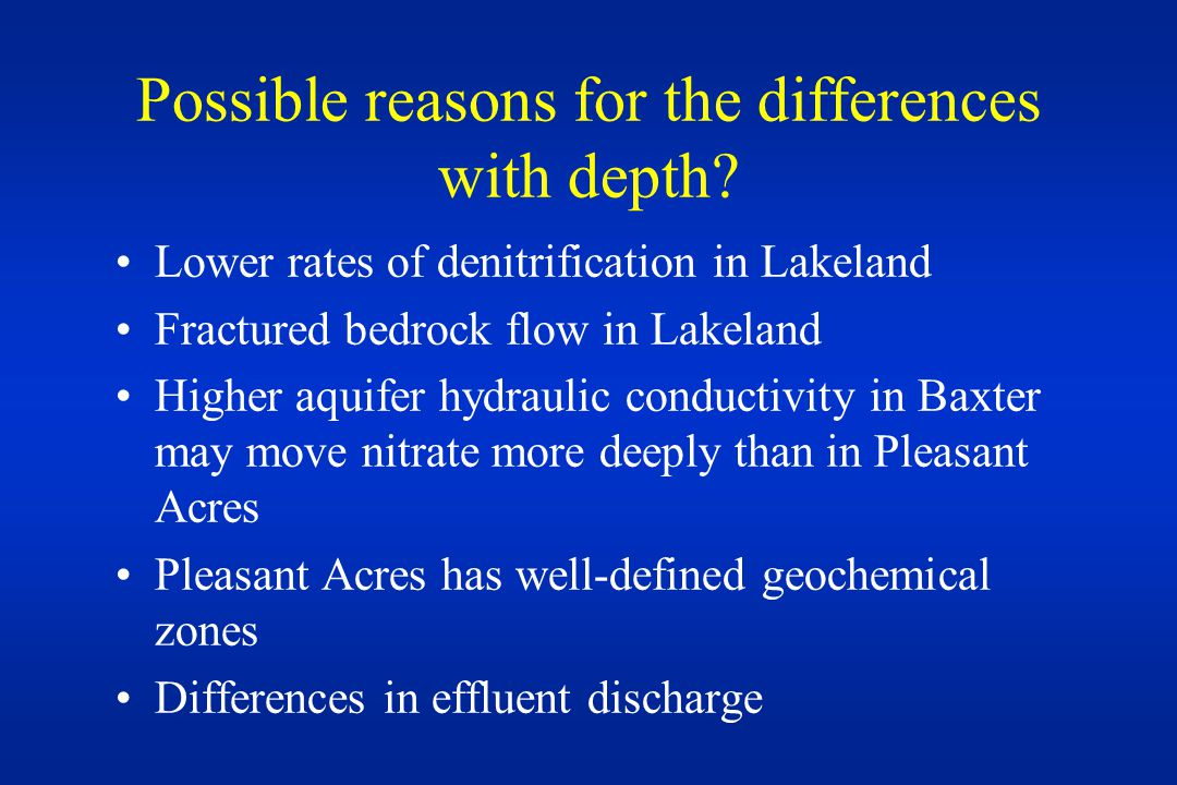 Possible reasons for the differences with depth.