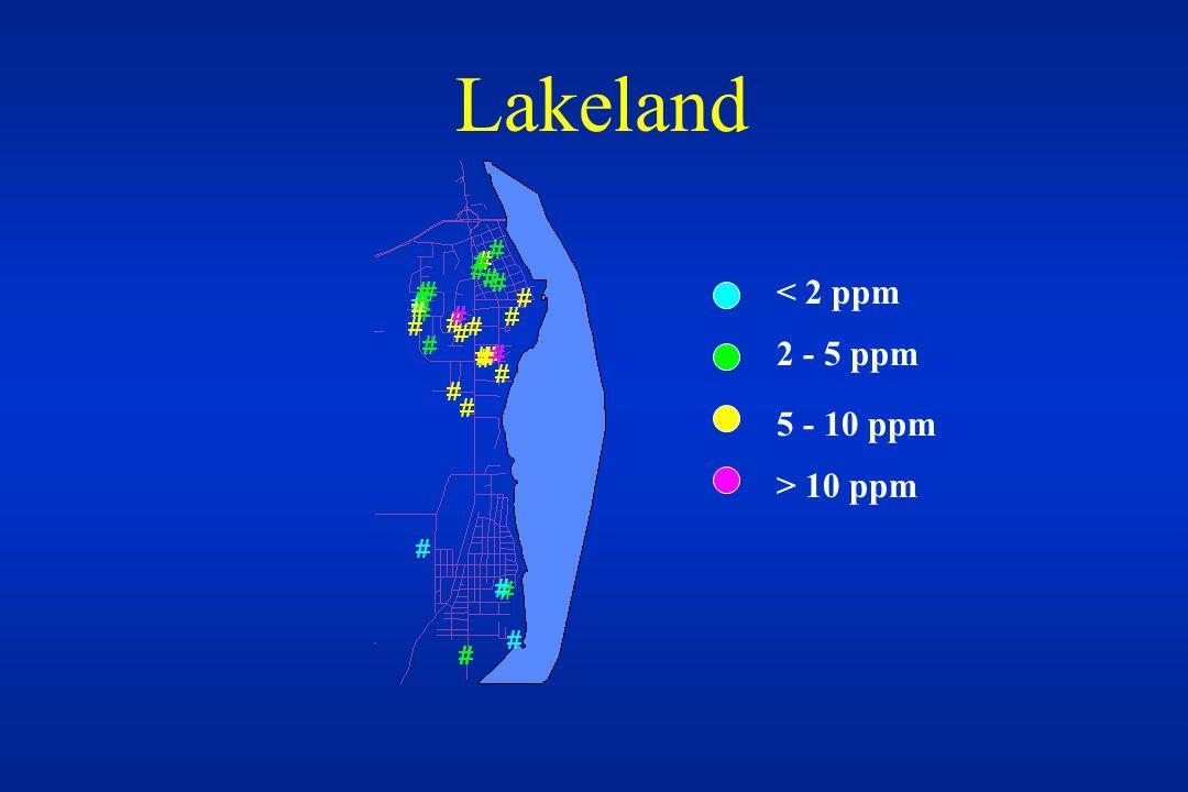 Lakeland < 2 ppm 2 - 5 ppm 5 - 10 ppm > 10 ppm