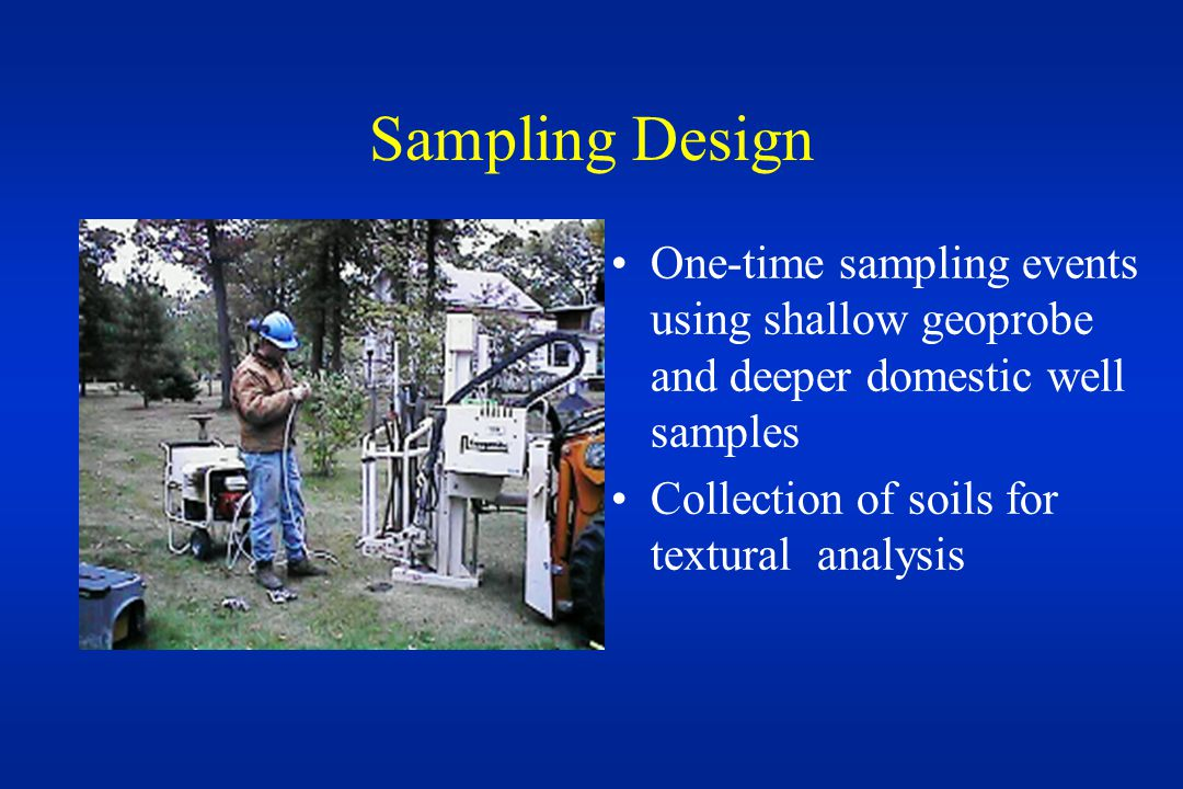 Sampling Design One-time sampling events using shallow geoprobe and deeper domestic well samples Collection of soils for textural analysis