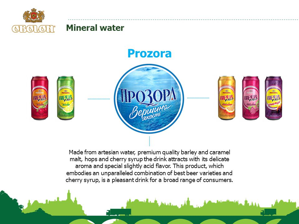 Mineral water Prozora Made from artesian water, premium quality barley and caramel malt, hops and cherry syrup the drink attracts with its delicate ar