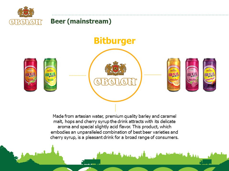 Beer (mainstream) Bitburger Made from artesian water, premium quality barley and caramel malt, hops and cherry syrup the drink attracts with its delic