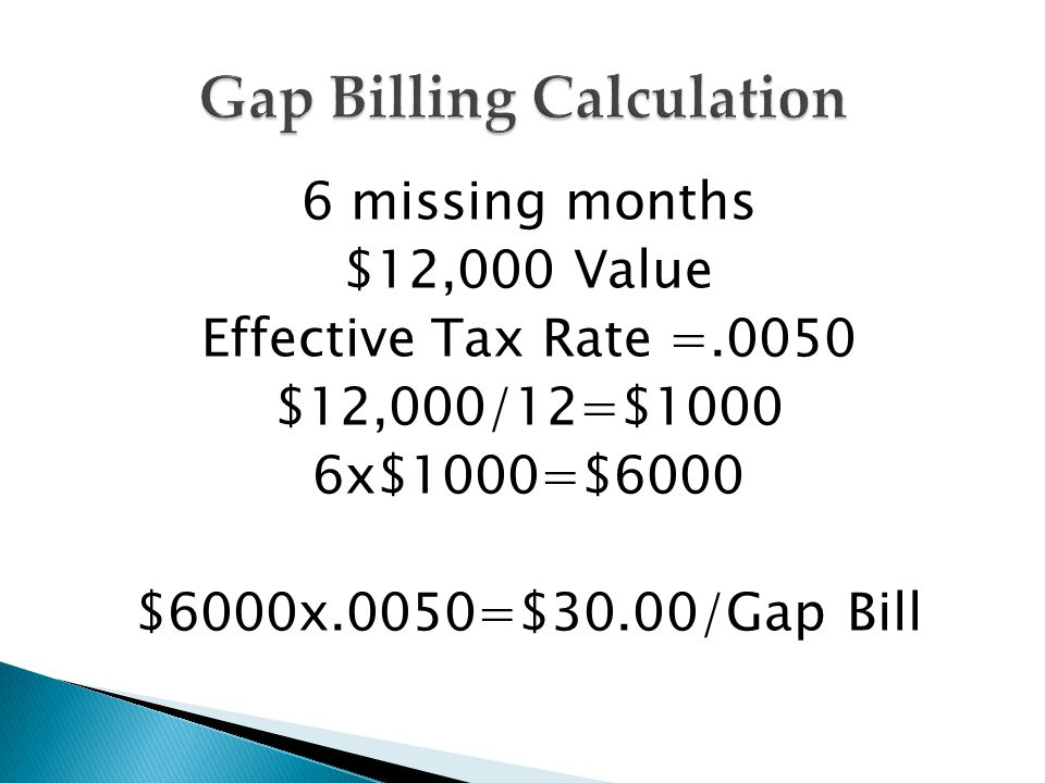 6 missing months $12,000 Value Effective Tax Rate =.0050 $12,000/12=$1000 6x$1000=$6000 $6000x.0050=$30.00/Gap Bill