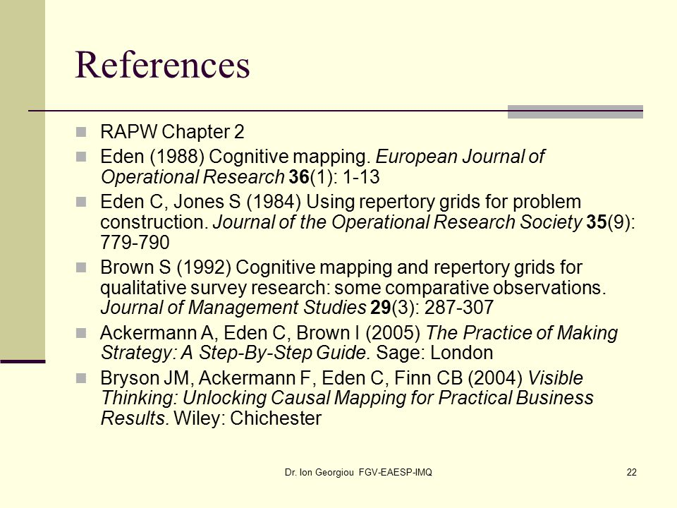 Dr. Ion Georgiou FGV-EAESP-IMQ22 References RAPW Chapter 2 Eden (1988) Cognitive mapping.