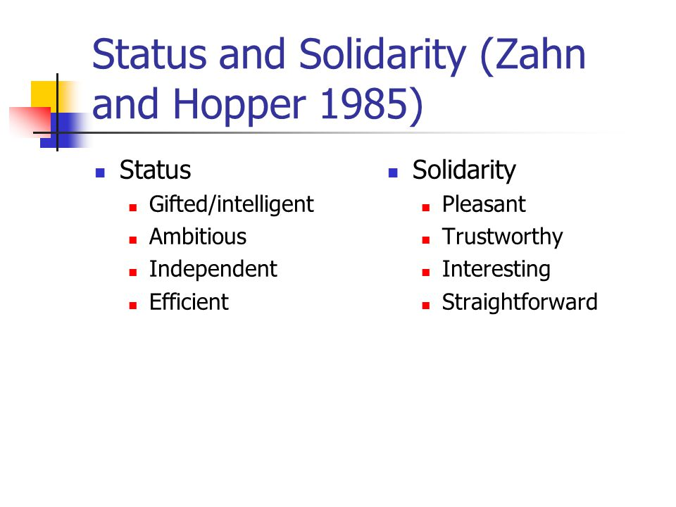 Status and Solidarity (Zahn and Hopper 1985) Status Gifted/intelligent Ambitious Independent Efficient Solidarity Pleasant Trustworthy Interesting Straightforward