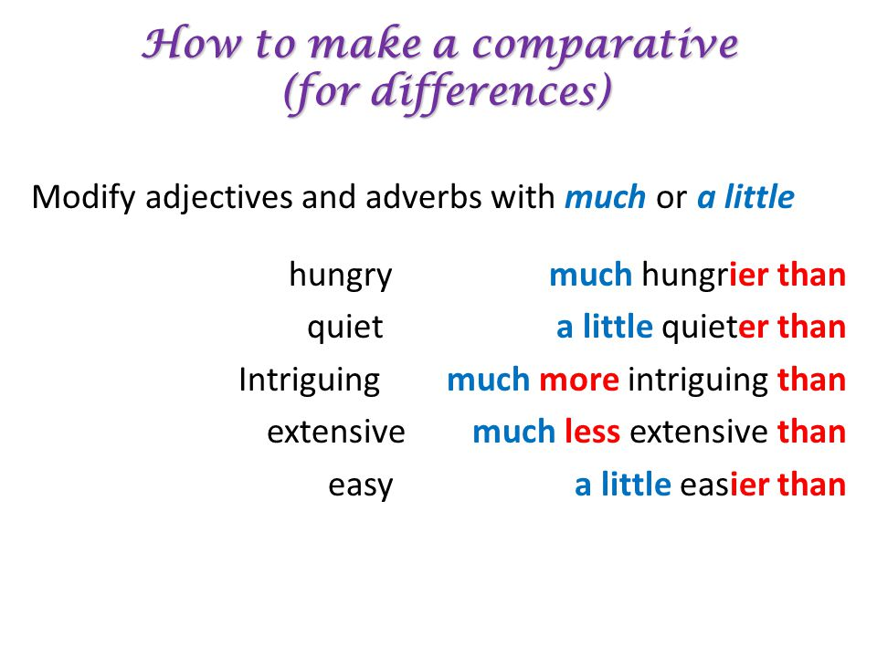 How to make a comparative (for differences) Modify adjectives and adverbs with much or a little hungry much hungrier than quiet a little quieter than