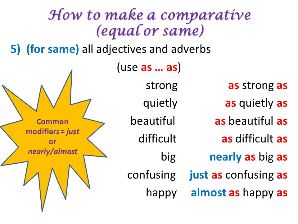 How to make a comparative (equal or same) 5) (for same) all adjectives and adverbs (use as … as) strong as quietly as beautiful as difficult as big ne