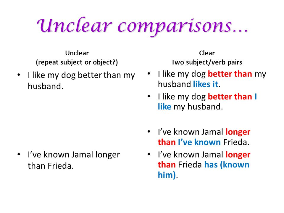 Unclear comparisons… Unclear (repeat subject or object?) I like my dog better than my husband. I've known Jamal longer than Frieda. Clear Two subject/