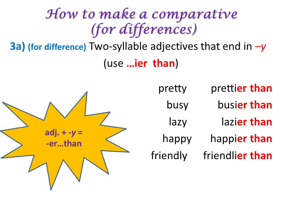 How to make a comparative (for differences) 3a) (for difference) Two-syllable adjectives that end in –y (use …ier than) pretty prettier than busy busi