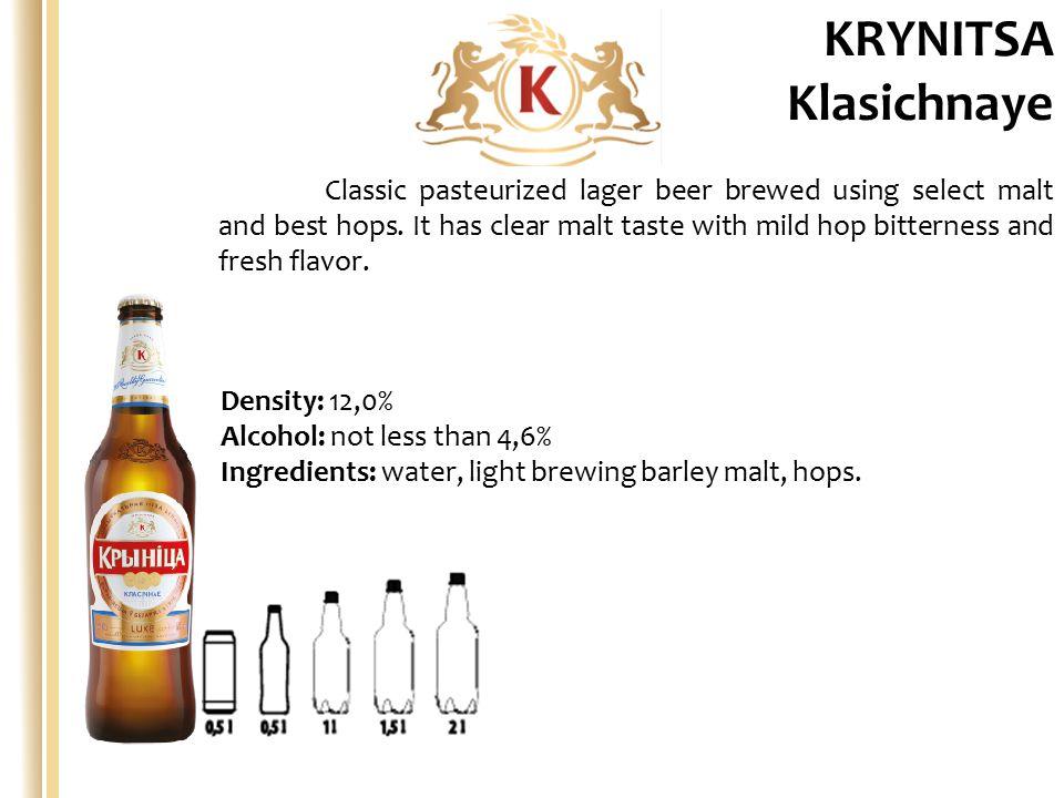 Density: 13,0% Alcohol: not less than 5.2% Ingredients: water, light barley malt, maltose syrup (M), rise grits, hops.