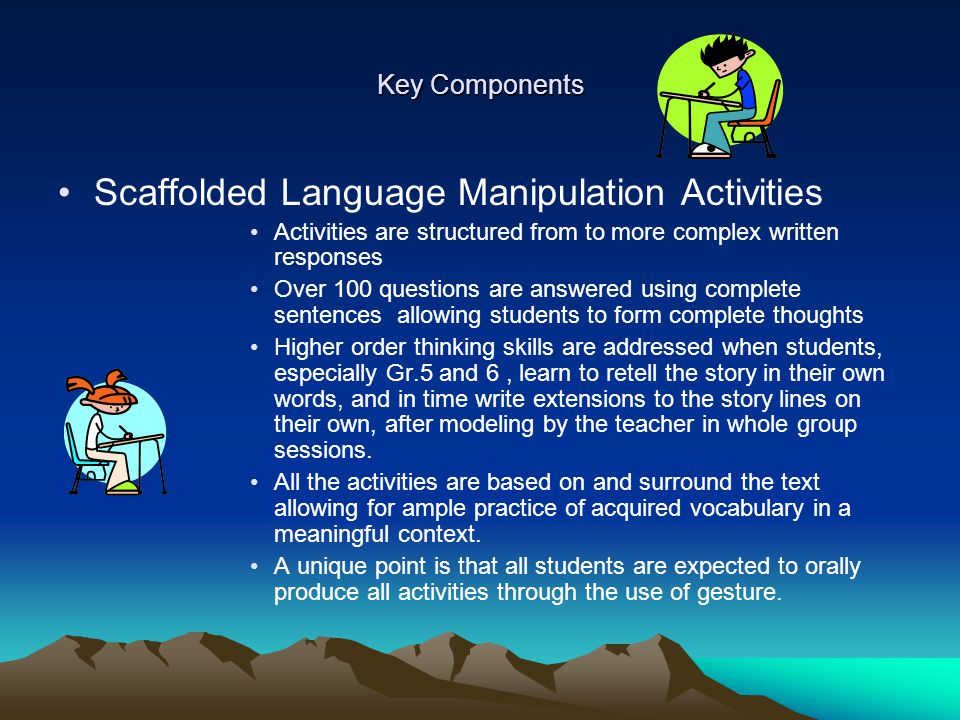 Key Components Scaffolded Language Manipulation Activities Activities are structured from to more complex written responses Over 100 questions are ans