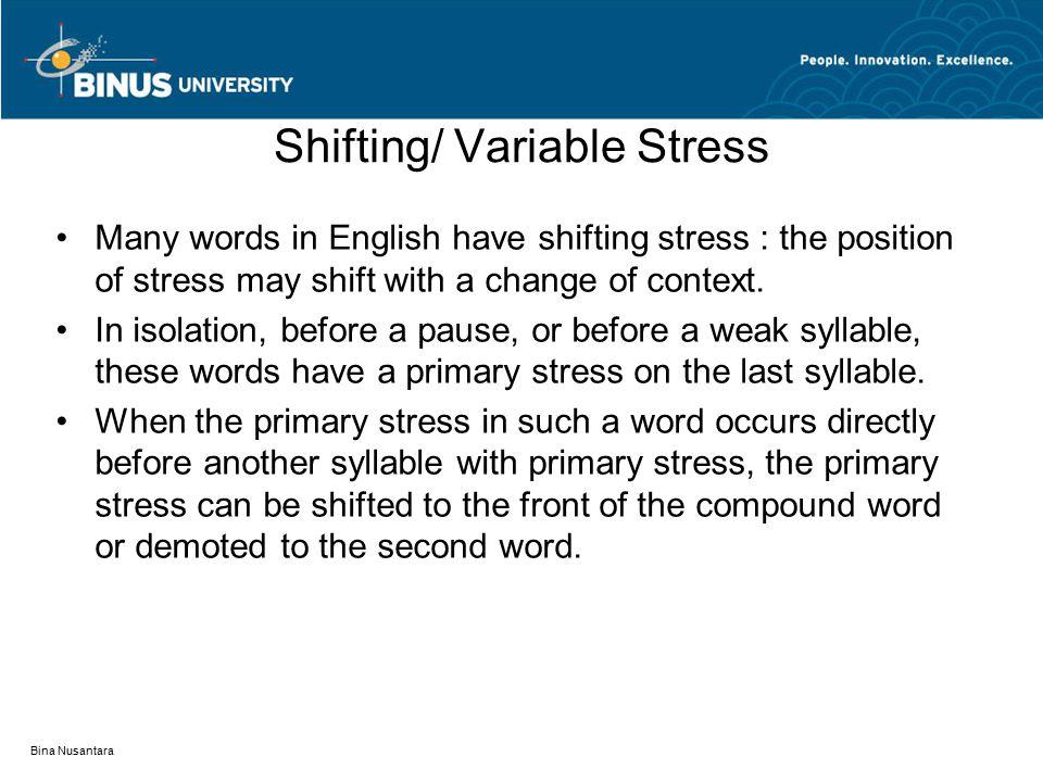 Bina Nusantara Shifting/ Variable Stress Many words in English have shifting stress : the position of stress may shift with a change of context.