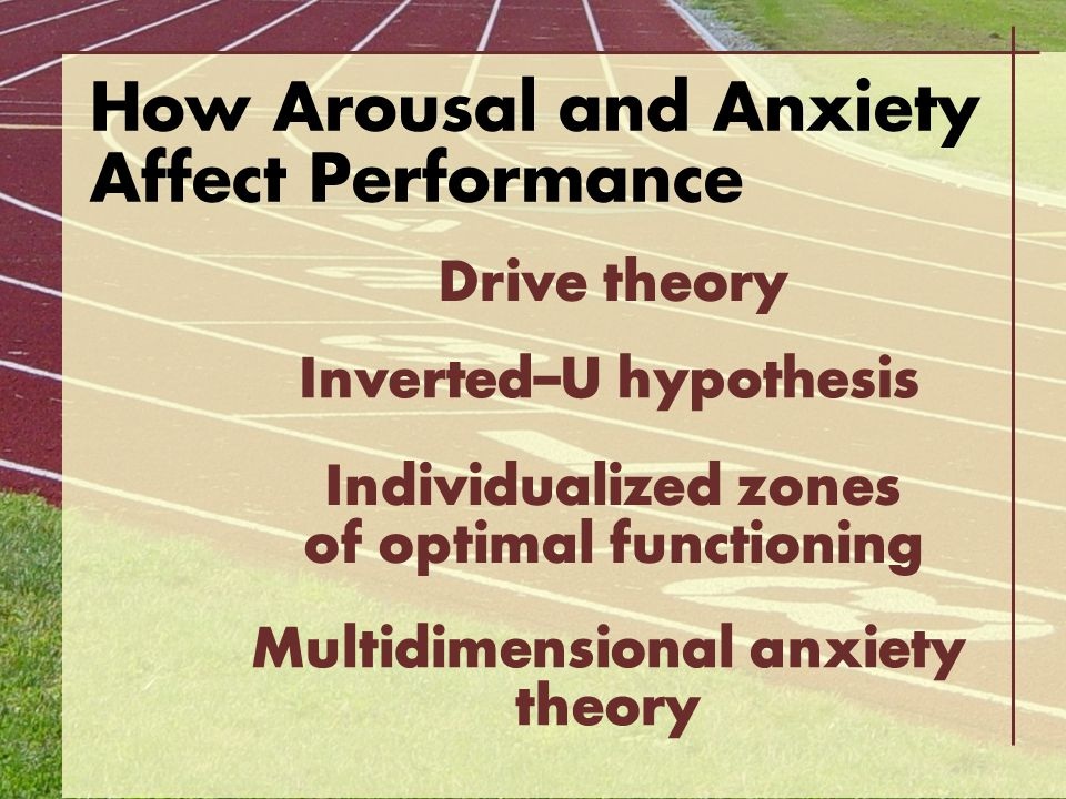 How Arousal and Anxiety Affect Performance Drive theory Inverted–U hypothesis Individualized zones of optimal functioning Multidimensional anxiety the