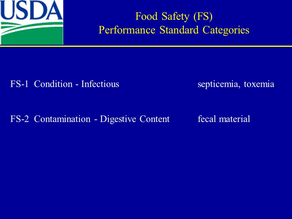 FS-1 Condition - Infectious septicemia, toxemia FS-2 Contamination - Digestive Content fecal material Food Safety (FS) Performance Standard Categories