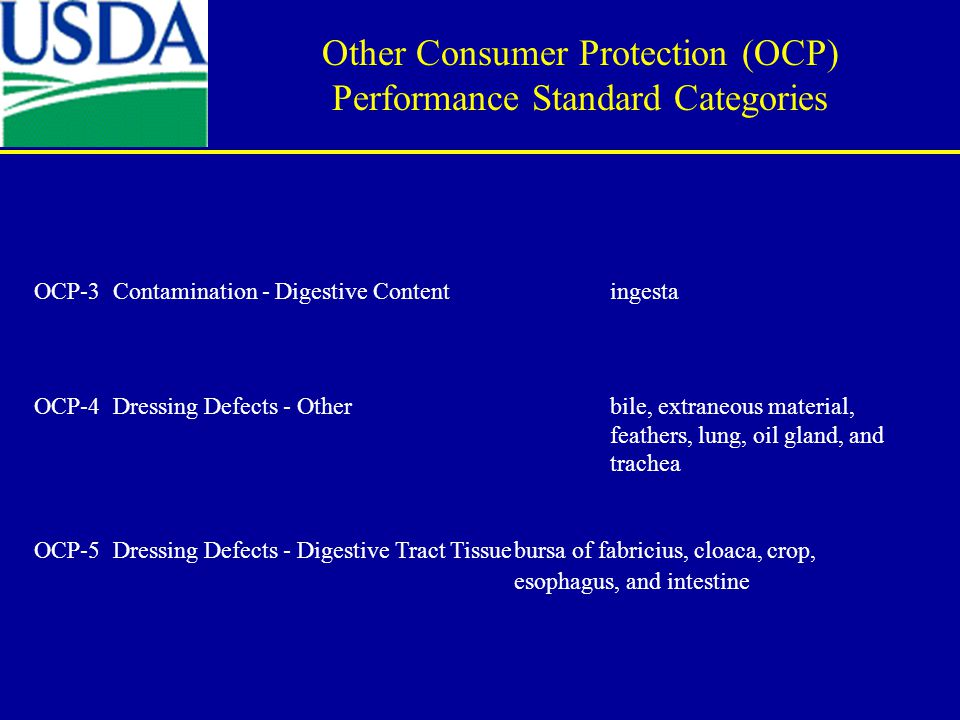 OCP-3 Contamination - Digestive Content ingesta OCP-4 Dressing Defects - Otherbile, extraneous material, feathers, lung, oil gland, and trachea OCP-5
