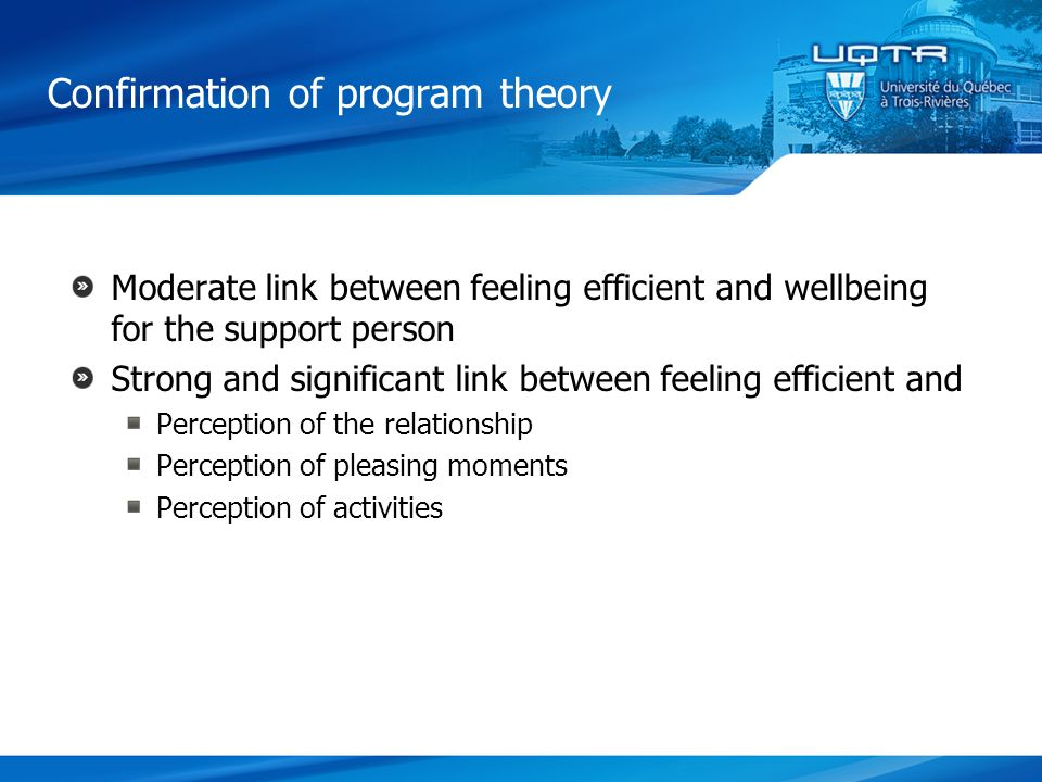 Moderate link between feeling efficient and wellbeing for the support person Strong and significant link between feeling efficient and Perception of the relationship Perception of pleasing moments Perception of activities Confirmation of program theory