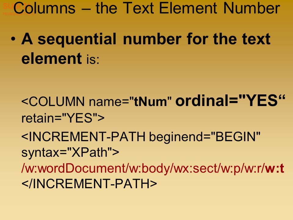 Hoyle paper 019-31 SUGI 31 Columns – the Text Element Number A sequential number for the text element is: /w:wordDocument/w:body/wx:sect/w:p/w:r/w:t