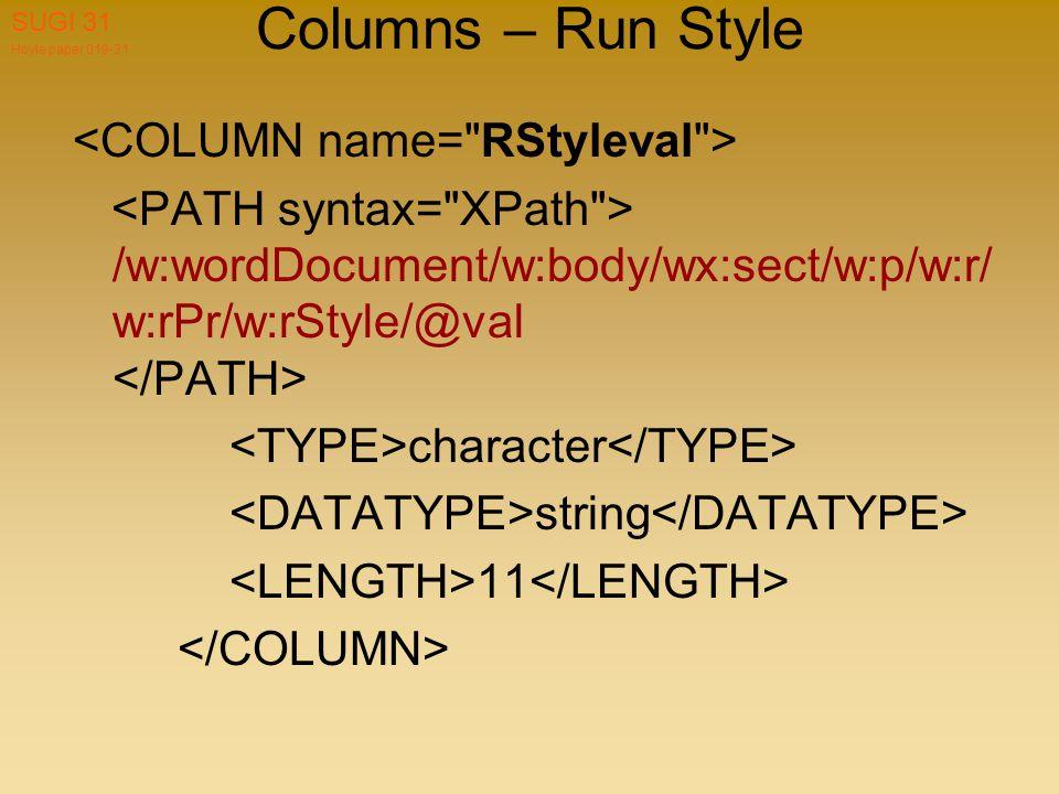 Hoyle paper 019-31 SUGI 31 Columns – Run Style /w:wordDocument/w:body/wx:sect/w:p/w:r/ w:rPr/w:rStyle/@val character string 11