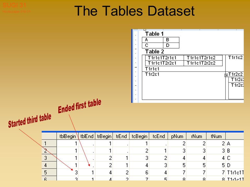 Hoyle paper 019-31 SUGI 31 The Tables Dataset