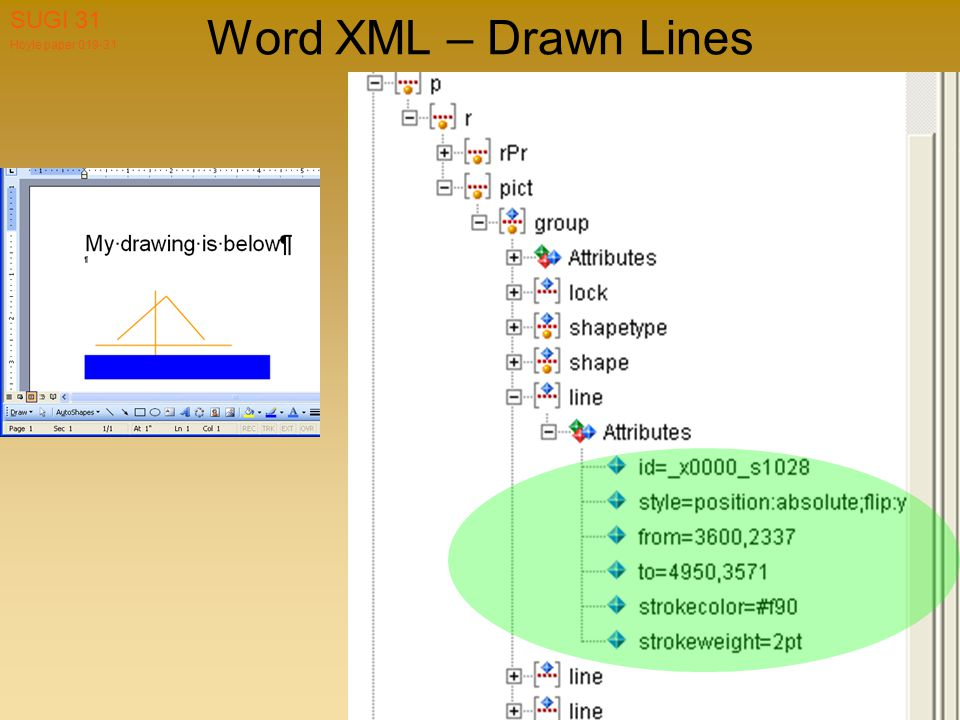 Hoyle paper 019-31 SUGI 31 Word XML – Drawn Lines