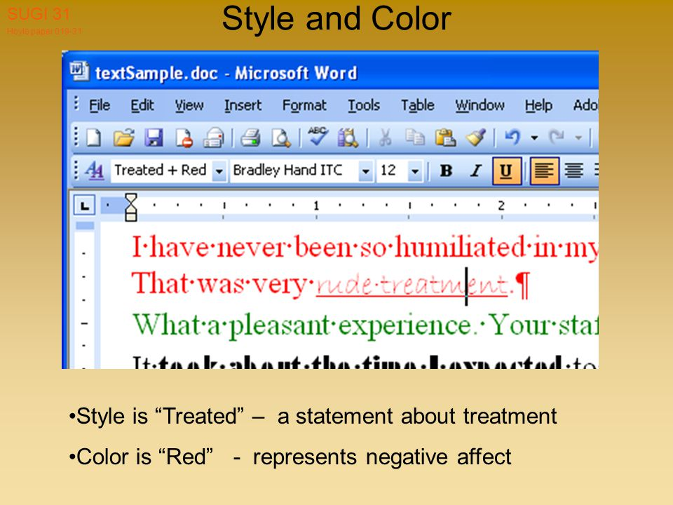 Hoyle paper 019-31 SUGI 31 Style and Color Style is Treated – a statement about treatment Color is Red - represents negative affect