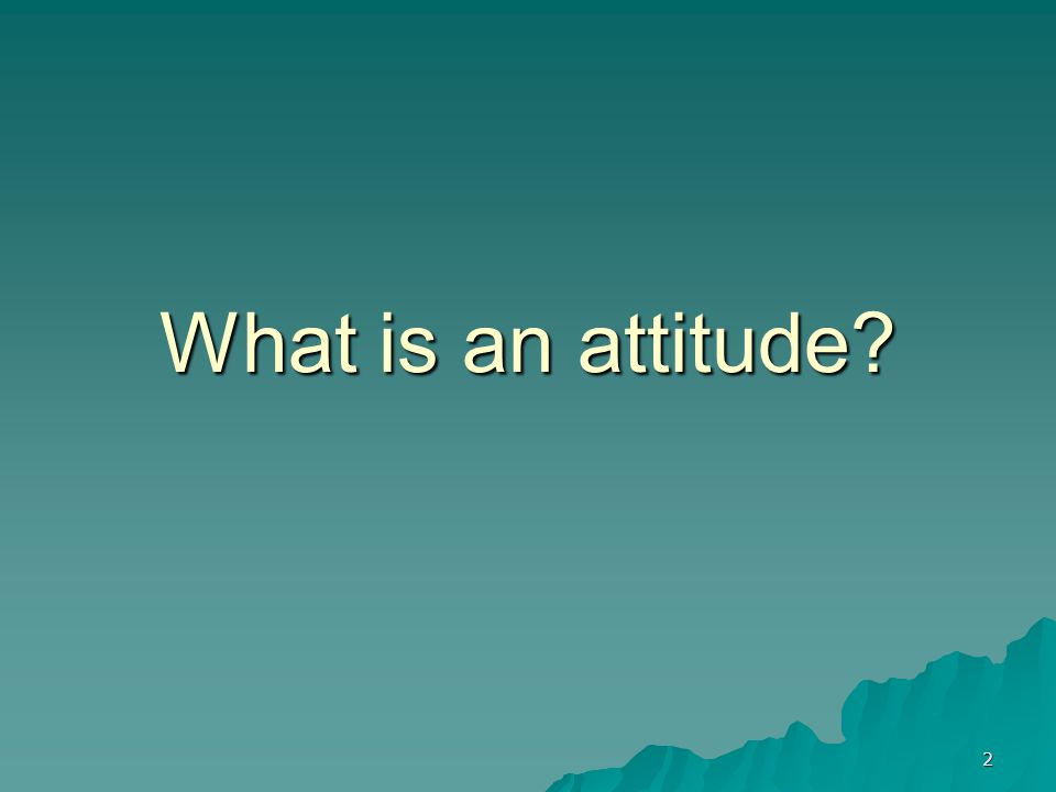 2 What is an attitude