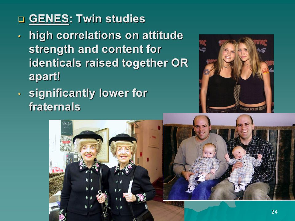 24  GENES: Twin studies high correlations on attitude strength and content for identicals raised together OR apart! high correlations on attitude str