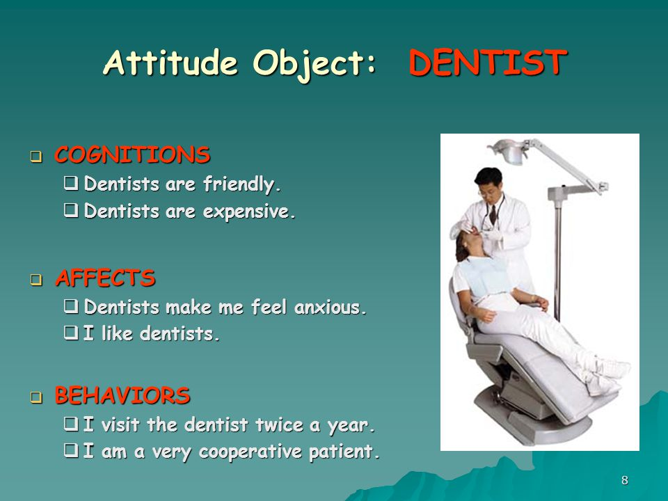 8 Attitude Object: DENTIST  COGNITIONS  Dentists are friendly.