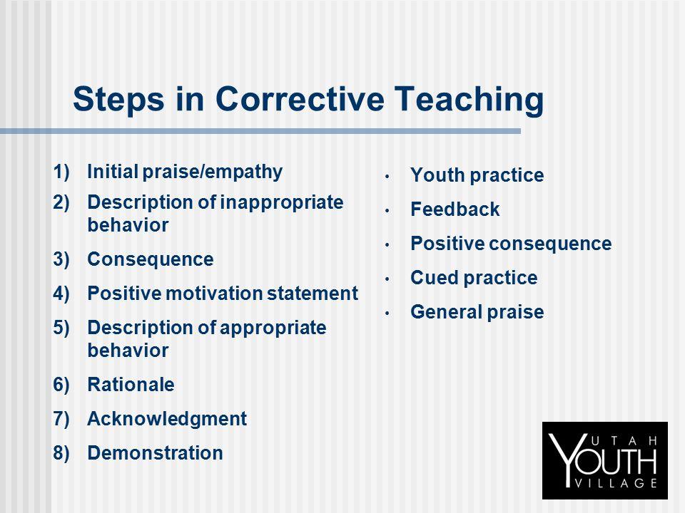 Steps in Corrective Teaching 1)Initial praise/empathy 2)Description of inappropriate behavior 3)Consequence 4)Positive motivation statement 5)Descript