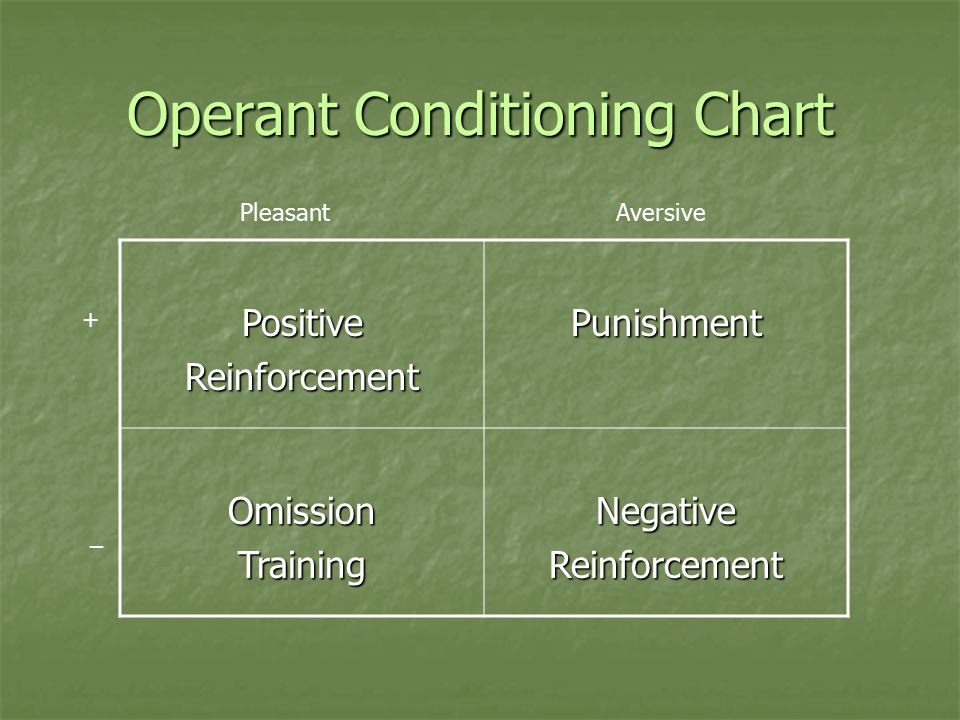 Activity Introduction to Operant Conditioning problems Introduction to Operant Conditioning problems When you've worked your way through the problem, identify which principle of operant conditioning is at work.
