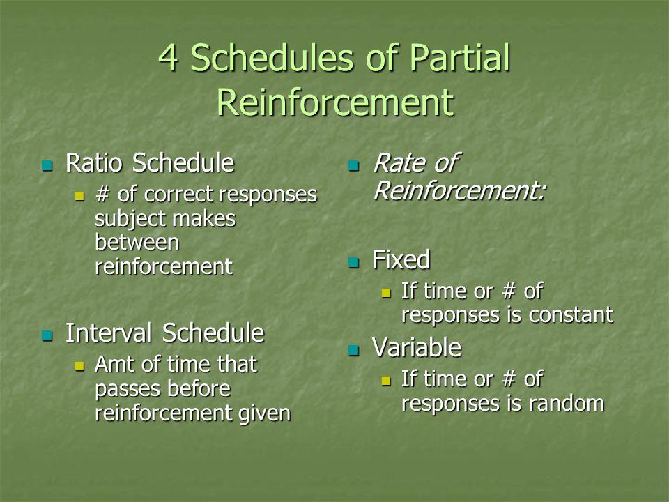 4 Schedules of Partial Reinforcement Ratio Schedule Ratio Schedule # of correct responses subject makes between reinforcement # of correct responses s