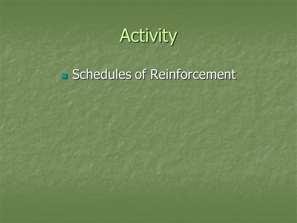 Activity Schedules of Reinforcement Schedules of Reinforcement