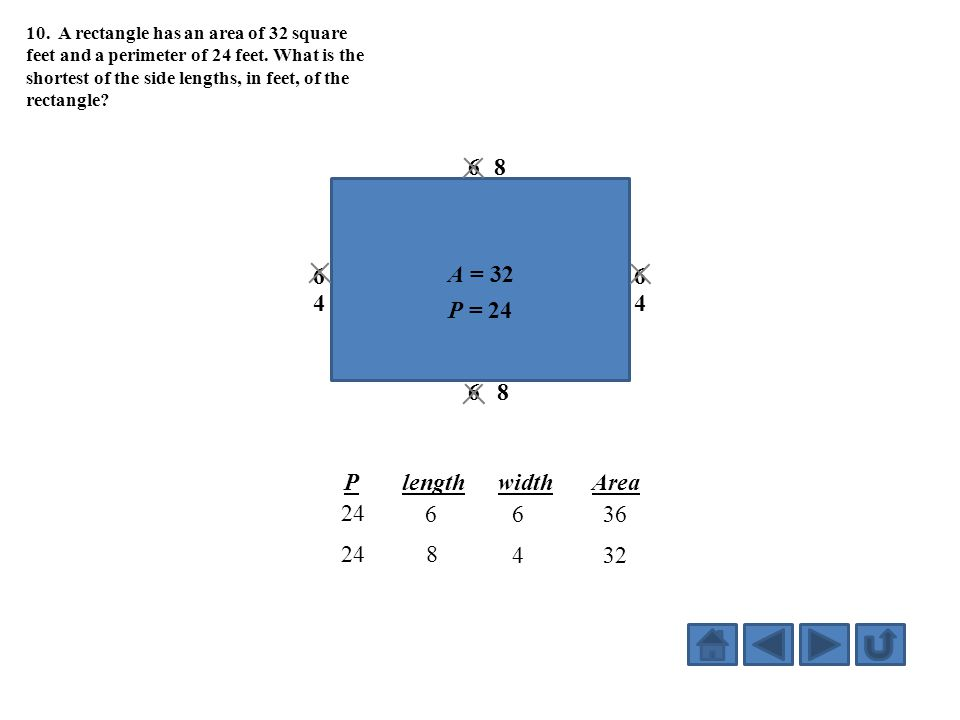 10. A rectangle has an area of 32 square feet and a perimeter of 24 feet. What is the shortest of the side lengths, in feet, of the rectangle? A = 32