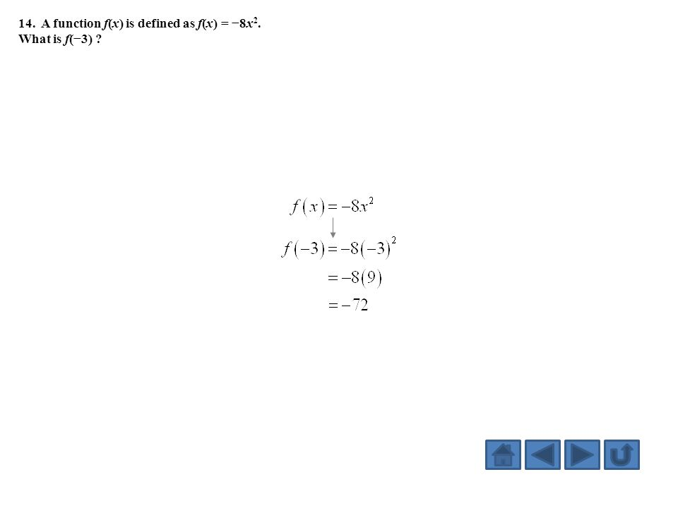 14. A function f(x) is defined as f(x) = −8x 2. What is f(−3) ?