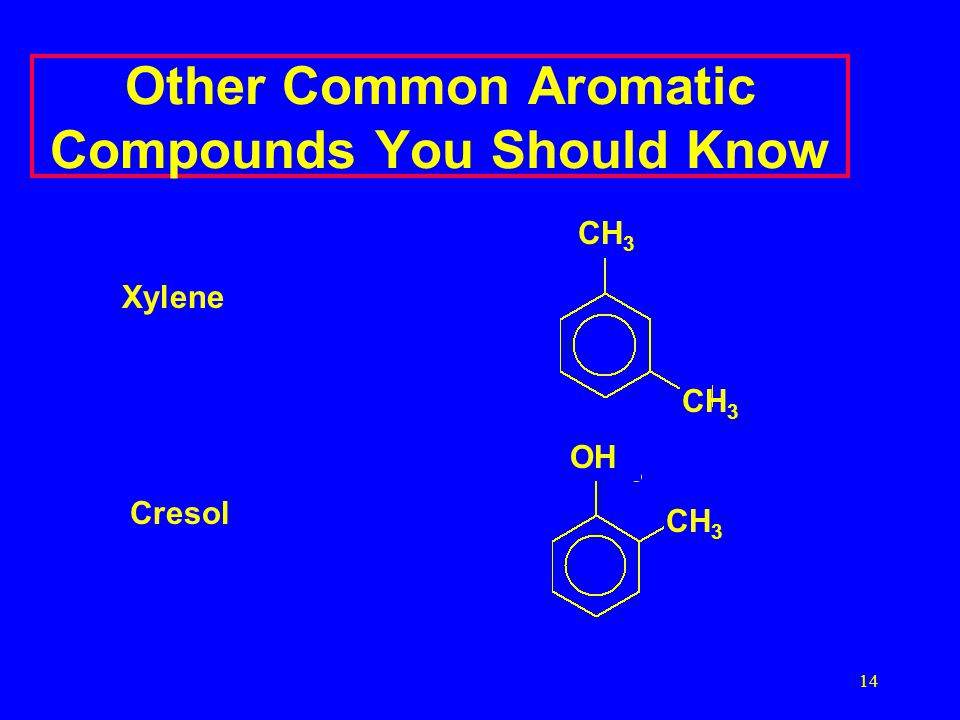 14 Other Common Aromatic Compounds You Should Know CH 3 OH Xylene Cresol CH 3