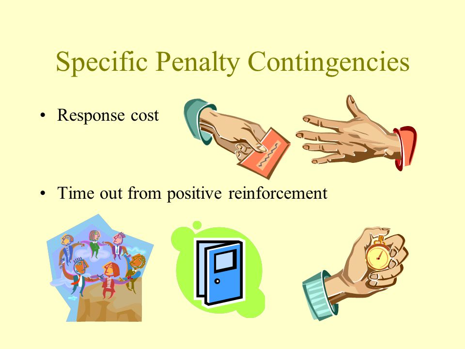 Specific Penalty Contingencies Response cost Time out from positive reinforcement