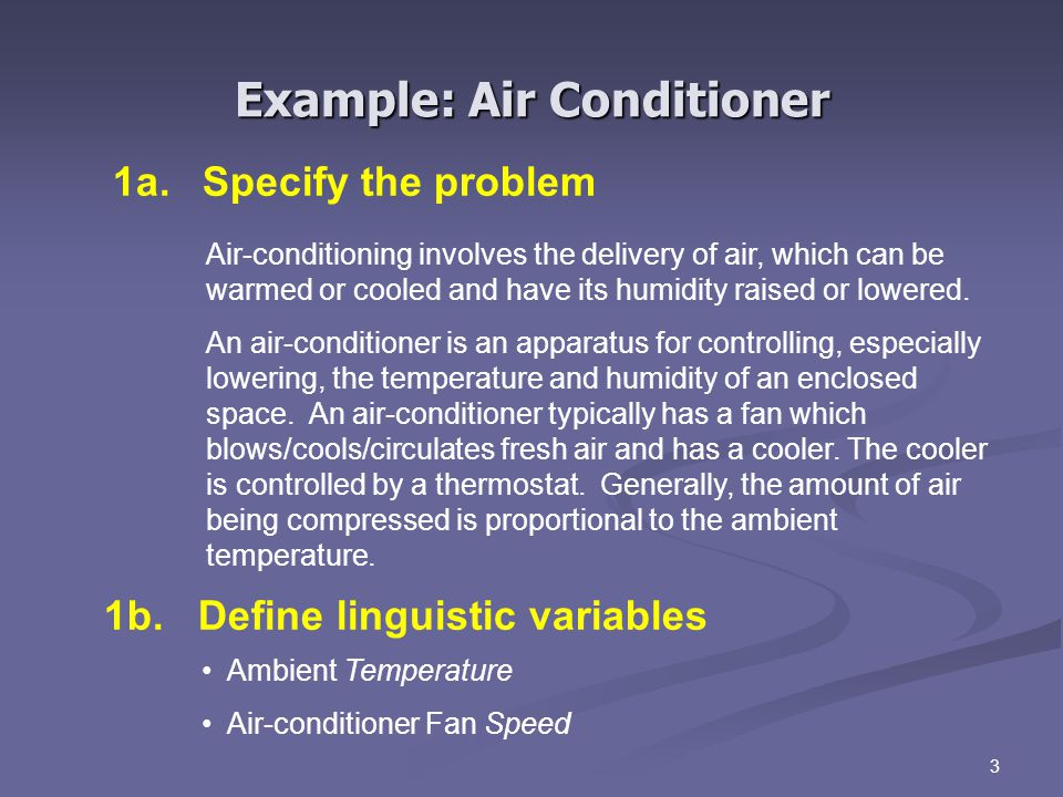 3 1a. Specify the problem Air-conditioning involves the delivery of air, which can be warmed or cooled and have its humidity raised or lowered. An air