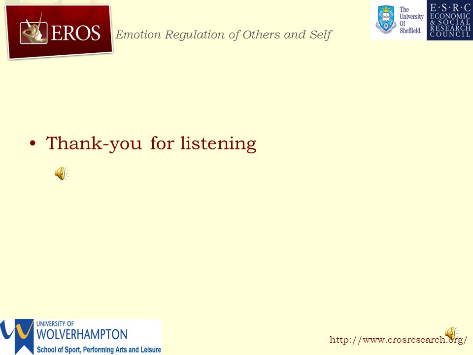 Emotion Regulation of Others and Self http://www.erosresearch.org/ Conclusions Emotion regulation strategies associated with intense emotions Affective residue from one situation influences emotions in a different situation and subsequent regulation strategies Future research is investigating relationship between emotions associated with desired emotional states and regulation strategies and how these vary across situation