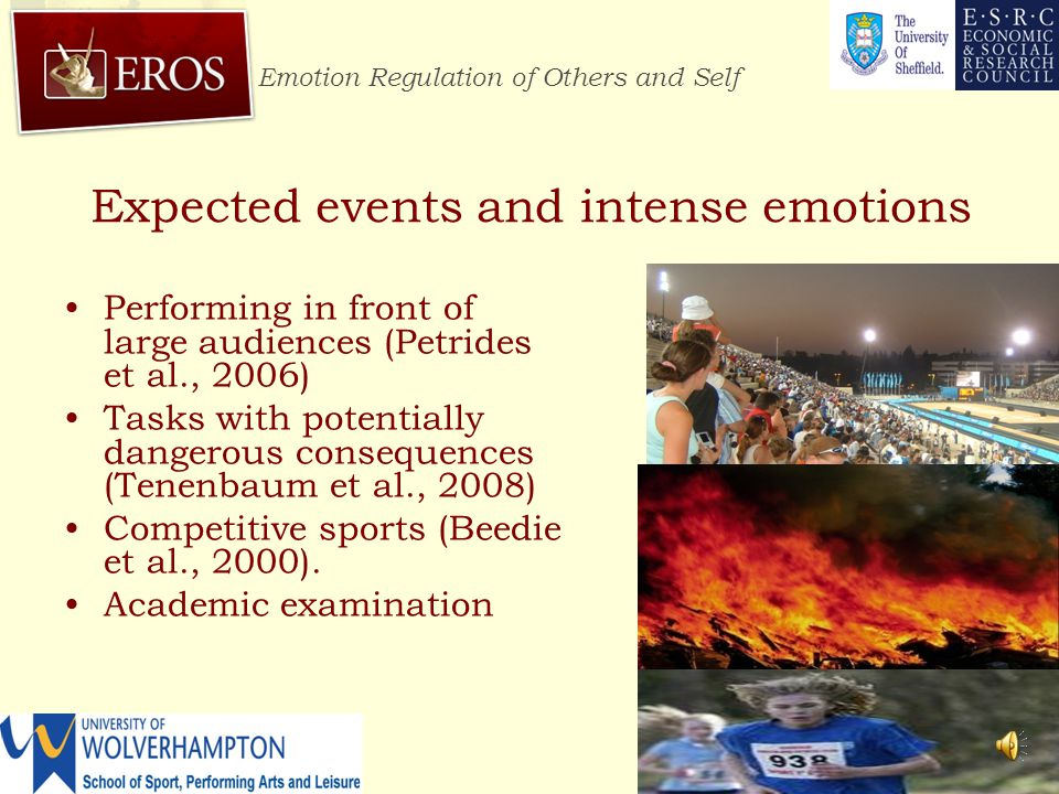 Emotion Regulation of Others and Self http://www.erosresearch.org/  Positive behaviour to improve emotion was used when feeling more positive emotions (F = 21.45, P <.01) and unpleasant emotions (F = 5.89, P <.01).