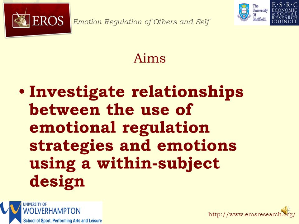 Emotion Regulation of Others and Self http://www.erosresearch.org/ Person A Person B Emotion regulation strategies Emotion Ideographic analysis: Average emotion and use of regulation strategies for two participants