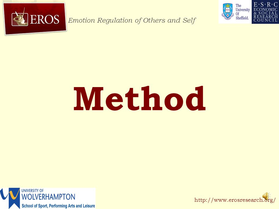 Emotion Regulation of Others and Self http://www.erosresearch.org/ Method