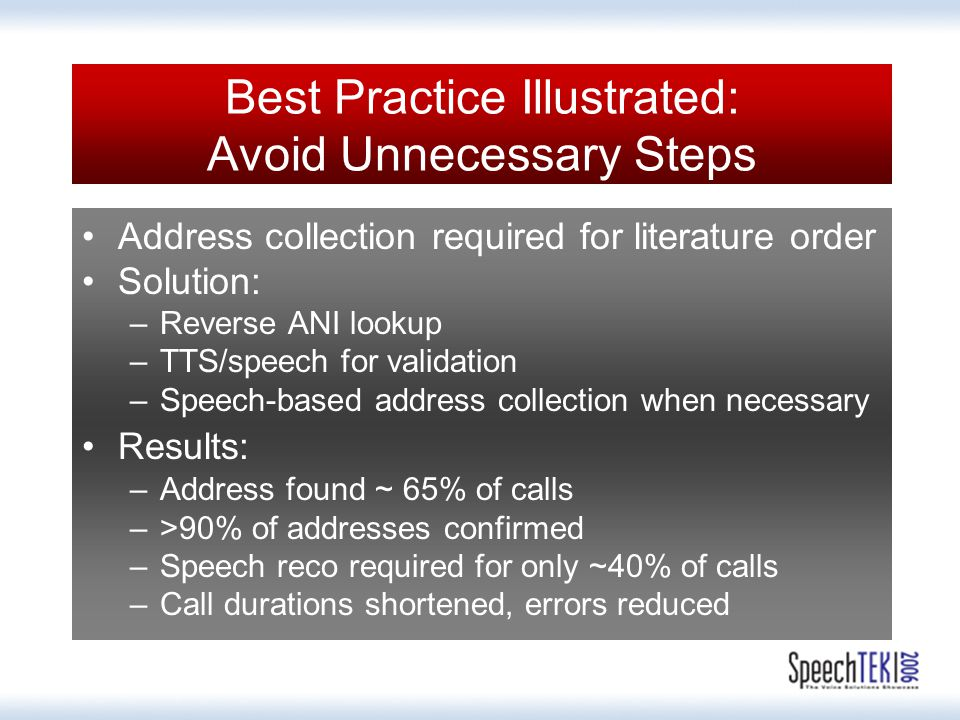 Best Practice Illustrated: Avoid Unnecessary Steps Address collection required for literature order Solution: –Reverse ANI lookup –TTS/speech for validation –Speech-based address collection when necessary Results: –Address found ~ 65% of calls –>90% of addresses confirmed –Speech reco required for only ~40% of calls –Call durations shortened, errors reduced