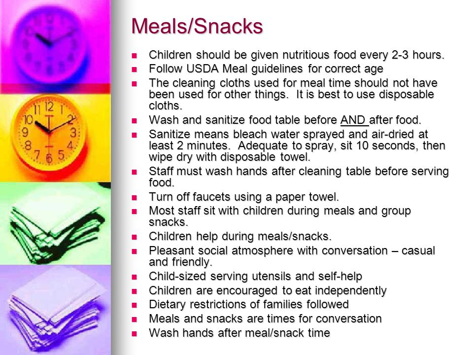 Snack Guidelines: Ages 3-5: choose 2 of the 4 components.