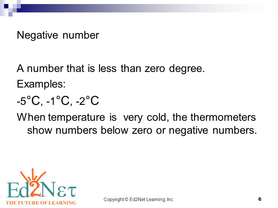 Copyright © Ed2Net Learning, Inc.6 Negative number A number that is less than zero degree.