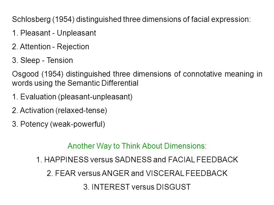 Schlosberg (1954) distinguished three dimensions of facial expression: 1.