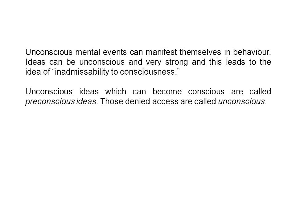 Unconscious mental events can manifest themselves in behaviour.