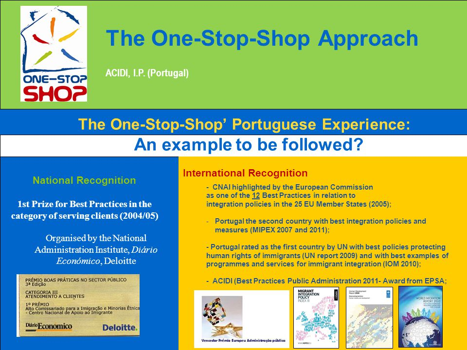 The One-Stop-Shop Approach ACIDI, I.P. (Portugal) The One-Stop-Shop' Portuguese Experience: An example to be followed? National Recognition 1st Prize