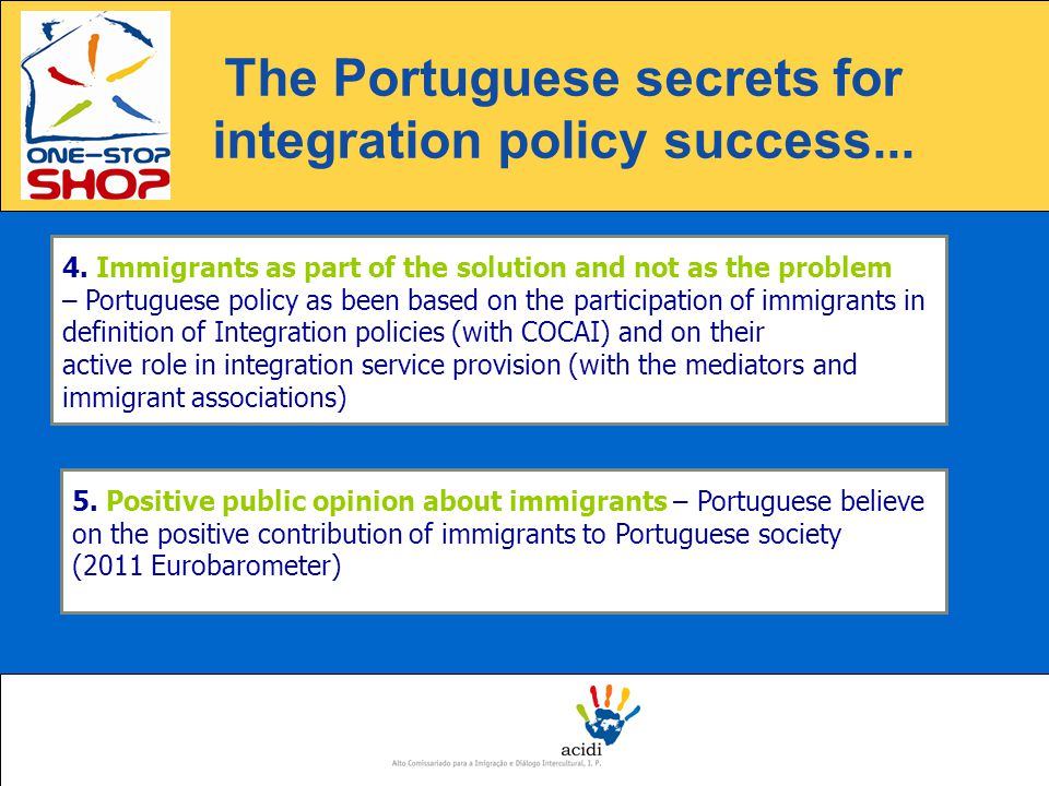 4. Immigrants as part of the solution and not as the problem – Portuguese policy as been based on the participation of immigrants in definition of Int