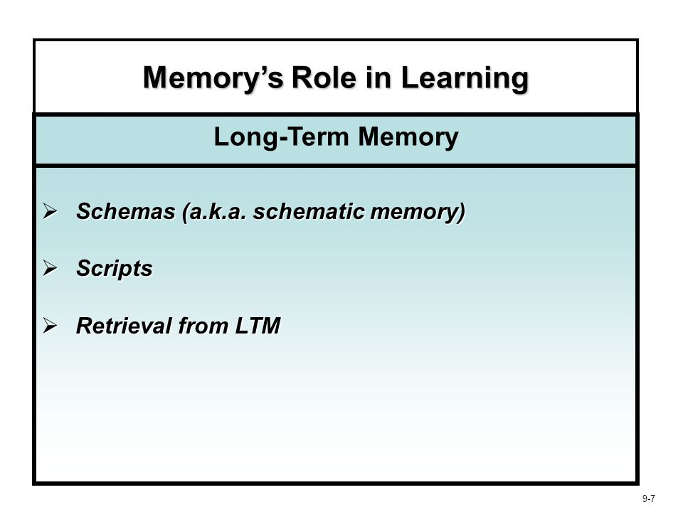 9-18 Learning, Memory, and Retrieval Strength of learning is enhanced by six factors: 1.Importance 2.Message Involvement 3.Mood 4.Reinforcement 5.Repetition 6.Dual Coding Strength of Learning