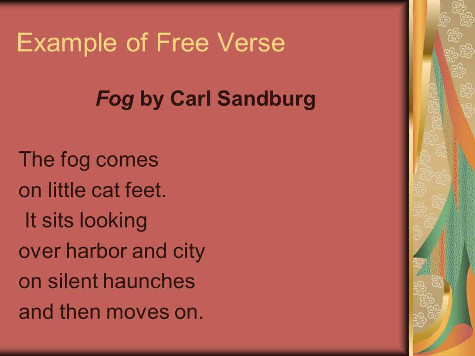 How to write Free verse Free verse does not have a set pattern of rhyme or rhythm. There are no rules about line length in free verse. You try to keep
